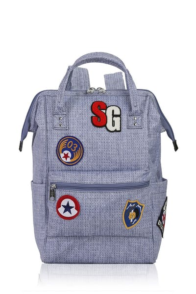 Swissgear 3576 Laptop Backpack with Patches - Light Blue Diamond