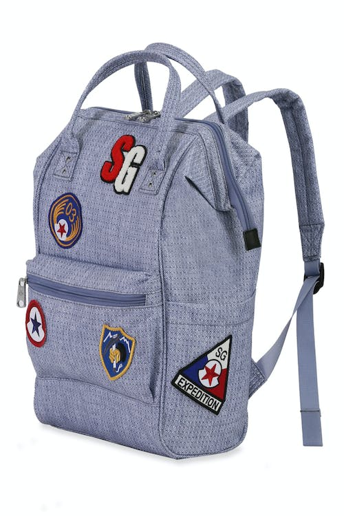 Swissgear 3576 Artz Laptop Backpack with Patches - Light Blue Diamond