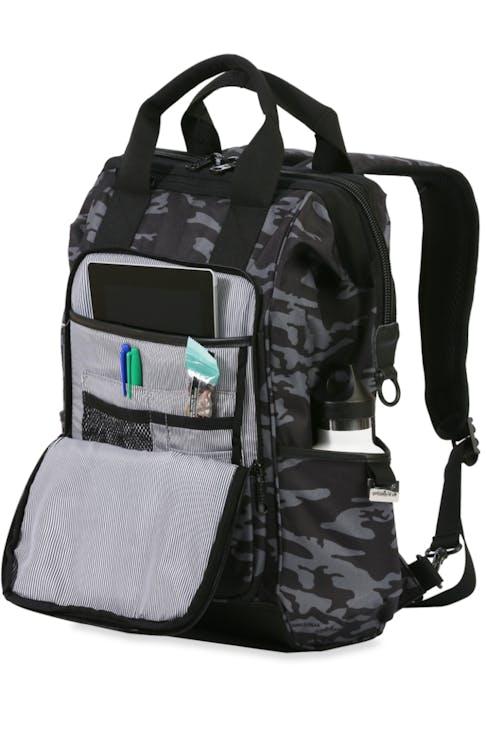 Swissgear 3577 Laptop Backpack - Grey Camo/Black - organizer panel