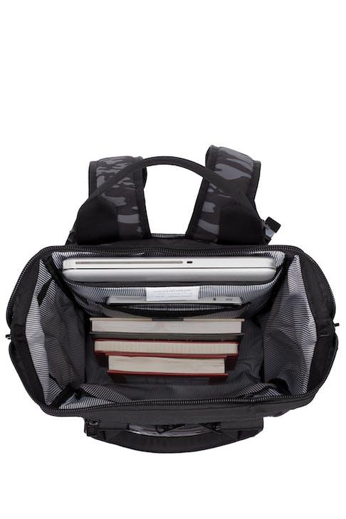 Swissgear 3577 Laptop Backpack - Grey Camo/Black - padded laptop sleeve