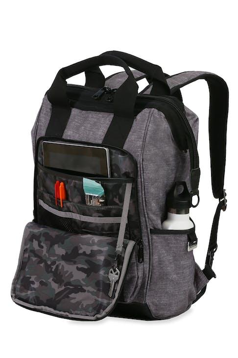 Swissgear 3577 Laptop Backpack - Gray Black - organizer panel