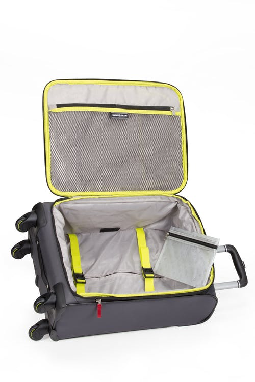 """Swissgear 6262 19"""" Expandable Carry-on Spinner Luggage - Adjustable tie-down clothing straps"""