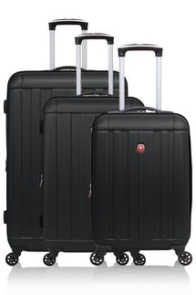 Swissgear 6297 Expandable 3pc Hardside Spinner Luggage Set - Black
