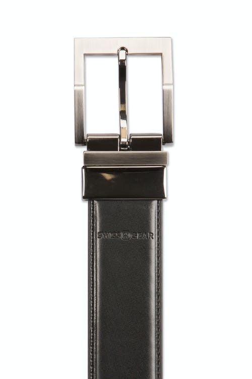 Swissgear Reversible Contemporary Buckle Belt - Black leather side with black stitching