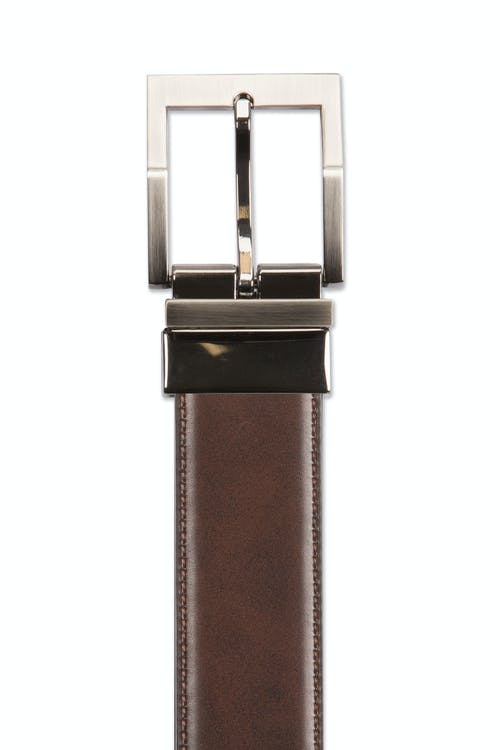 Swissgear Reversible Contemporary Buckle Belt - Brown leather side with brown stitching
