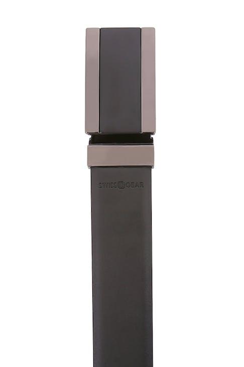Swissgear Men's Plaque Buckle Belt Smooth, matte finish on brown/black body