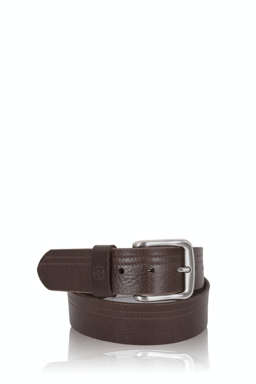 SWISSGEAR Square Buckle Brown Italian leather matte silver buckle with leather belt keeper