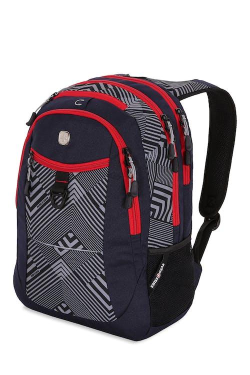 Swissgear 5982 Backpack - Noir Satin/Lines/Red