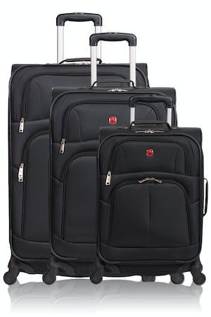 Swissgear 6053 Expandable 3pc Spinner Luggage Set - Black