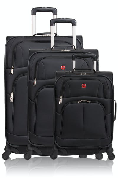 Swissgear 6053 Expandable 3pc Spinner Luggage Set - Black