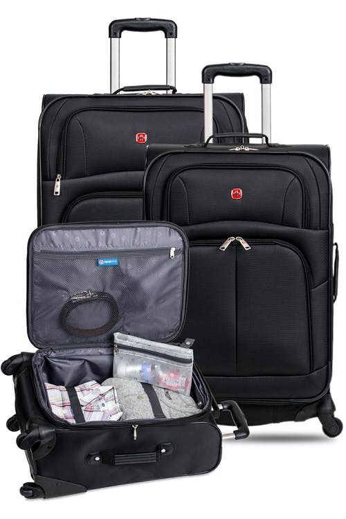 swissgear 6053 expandable 3pc spinner luggage set black