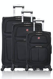 Swissgear 6283 Expandable 3pc Spinner Luggage Set - Black
