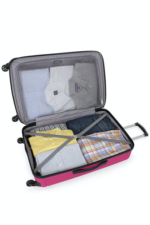 """SWISSGEAR 6297 24"""" Expandable Hardside Spinner Luggage Clothing tie-down straps"""