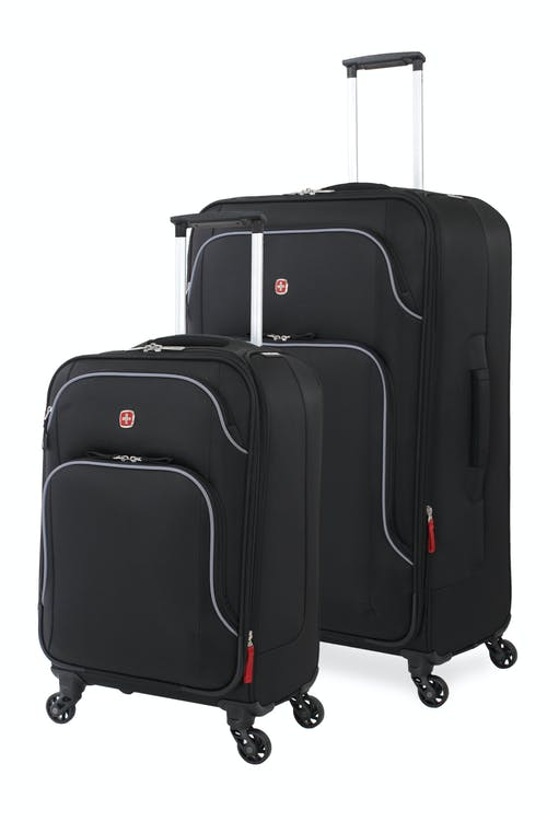 Swissgear 6320 Expandable 2pc Luggage set - Black/Silver