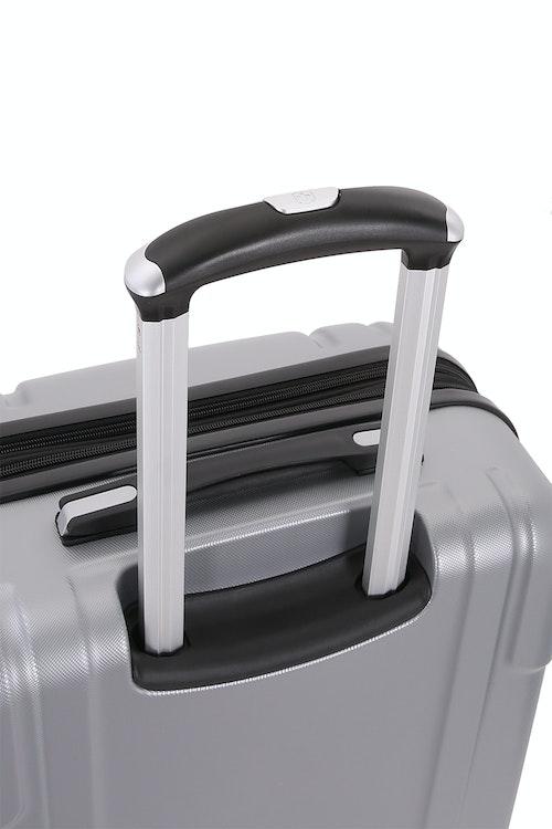 SWISSGEAR 6396 Expandable Hardside Spinner Aluminum, push button locking telescopic handle