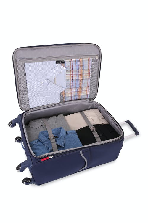 "SWISSGEAR 6570 24"" Liteweight Spinner Luggage adjustable clothing tie-down straps"