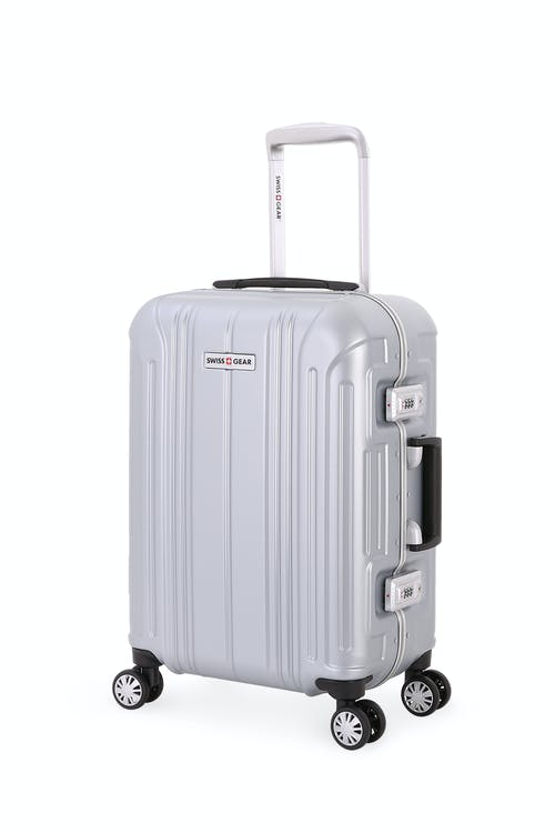 swissgear 6595 18 aluminum frame carry on hardside spinner luggage silver