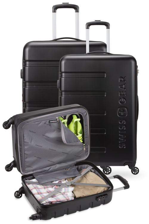 """Swissgear 7366 Luggage Set contains the 18"""", 23"""" and 27"""" Expandable Hardside Luggage"""