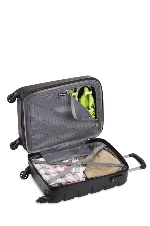 "Swissgear 7366 18"" Expandable Hardside Luggage open view"