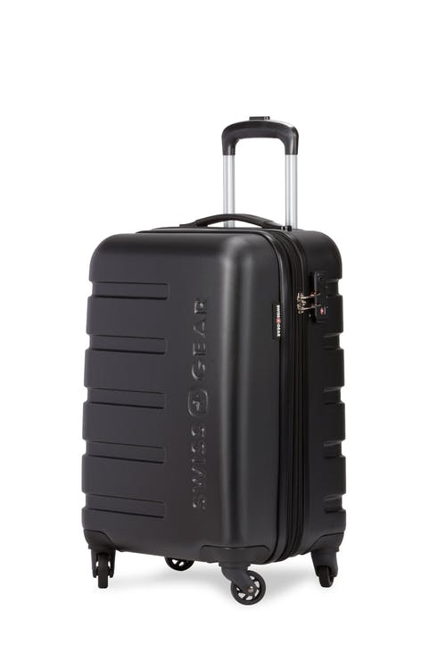 "Swissgear 7366 18"" Expandable Carry On Hardside Spinner Luggage - Black"