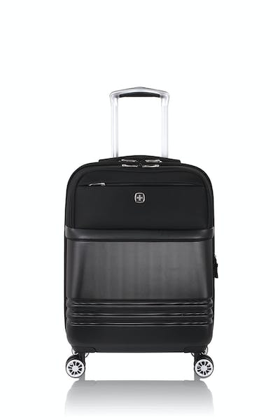 "Swissgear 7635 18"" Expandable Hybrid Business Carry On Spinner Luggage - Black"