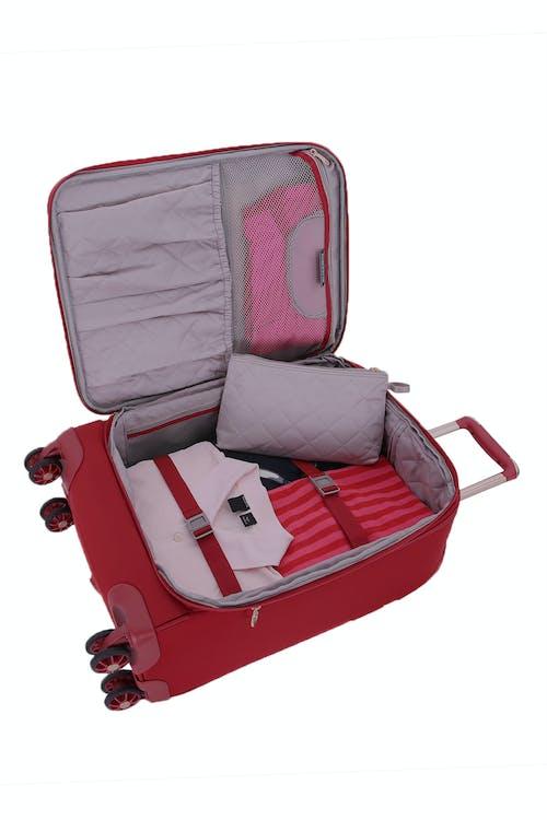 """Swissgear 7636 Geneva 20"""" Expandable Liteweight LuggageBlack Adjustable clothing compression straps"""