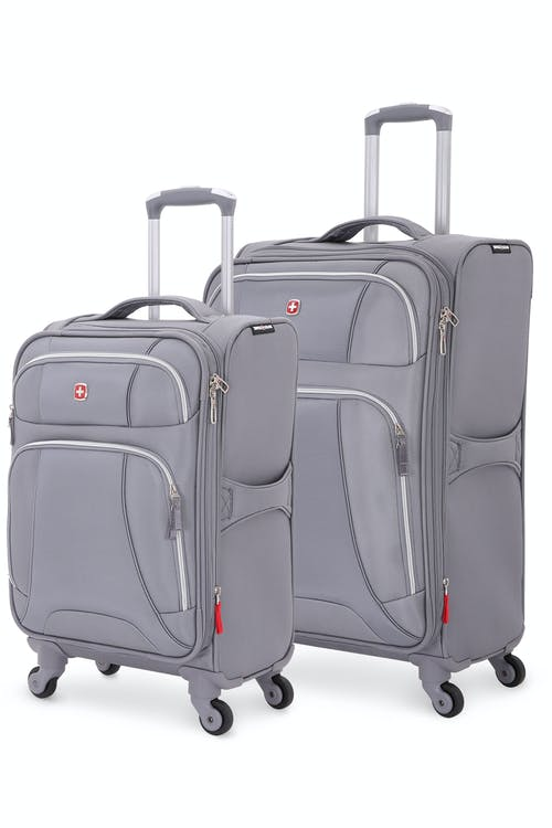 Swissgear 7676 Expandable Liteweight 2pc Spinner Luggage Set - Charcoal/Silver