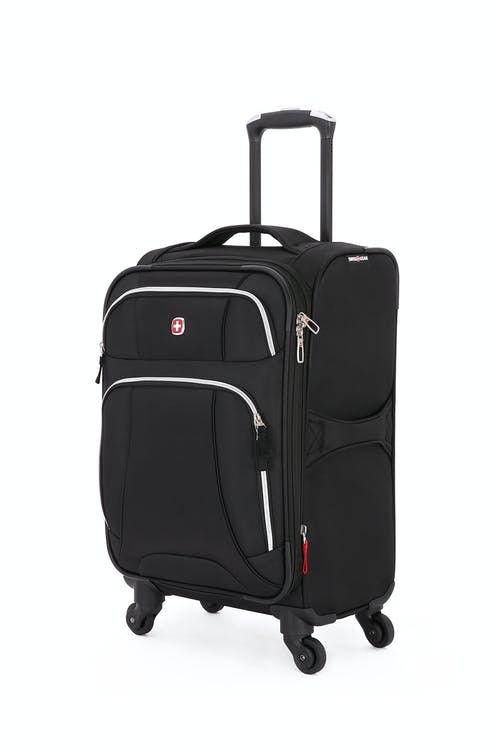 "SWISSGEAR 7676 20"" Expandable Spinner Luggage in Black/Silver"