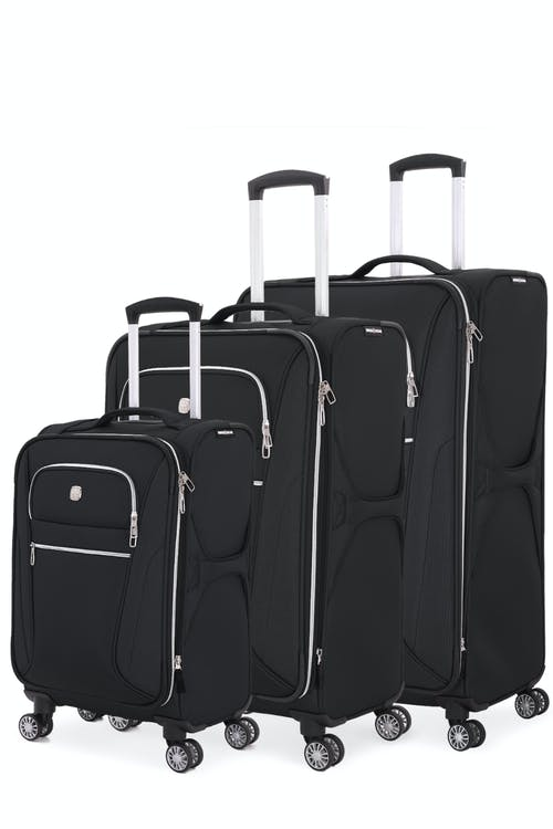 Swissgear 7850 Checklite Expandable Liteweight 3pc Spinner Luggage Set - Black