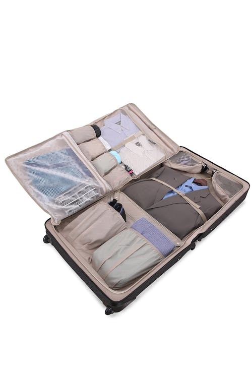 Swissgear 7895 Zurich Full Sized Wheeled Garment Bag unfolds into four sections