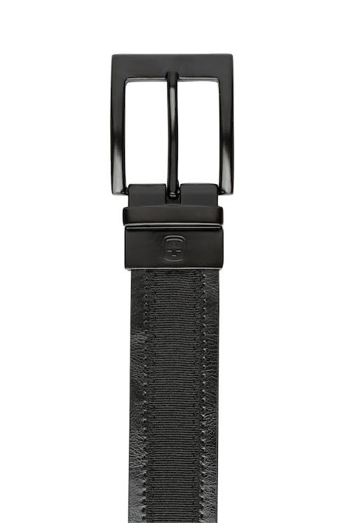 Swissgear Reversible Dress Belt black leather with Ballistic - Inlay side
