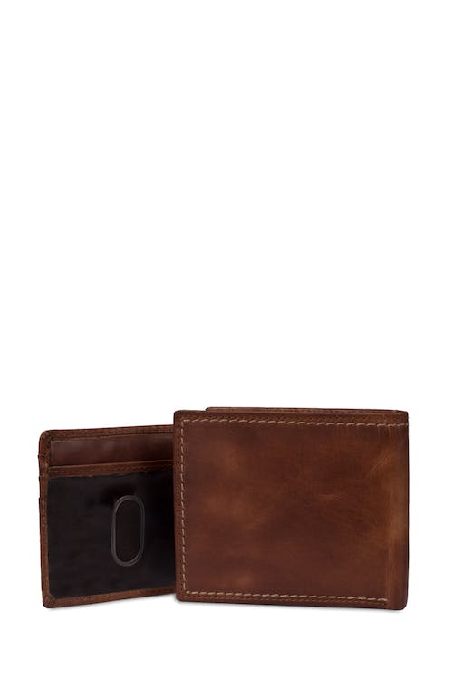 SWISSGEAR Genuine Leather Natural Stitch Bifold Wallet with RFID Blocking - Laminated ID card slot