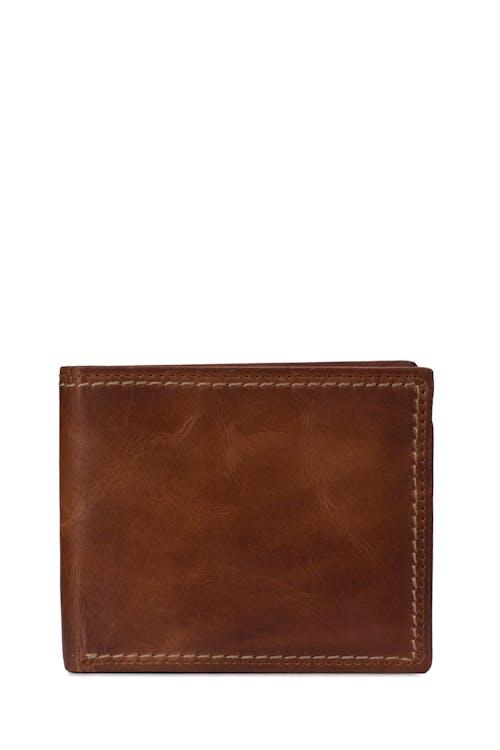 SWISSGEAR Genuine Leather Natural Stitch Bifold Wallet with RFID Blocking - Brown