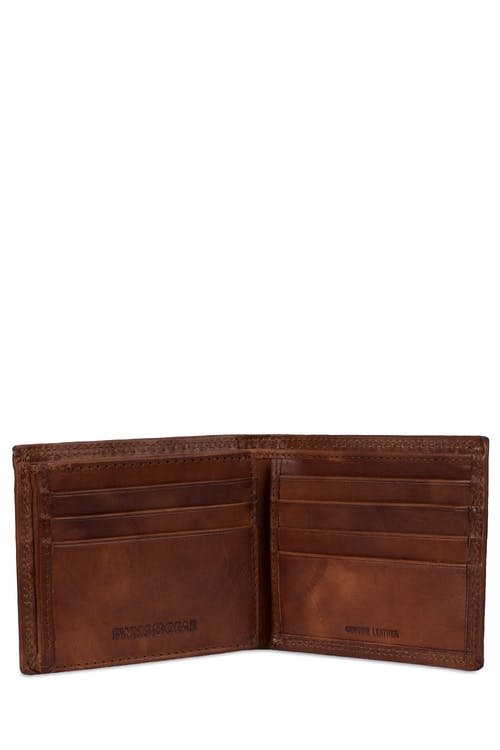 SWISSGEAR Genuine Leather Natural Stitch Bifold Wallet with RFID Blocking - Three side-slip pockets