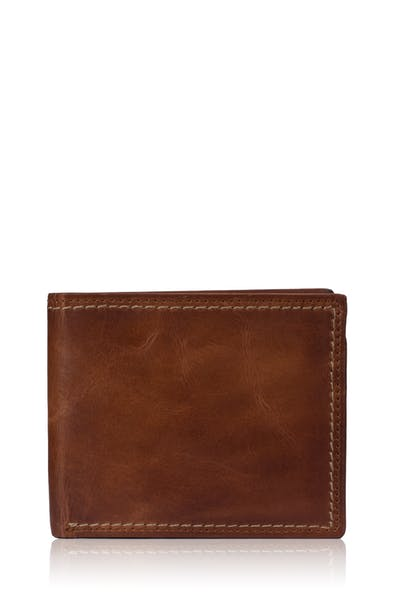 Swissgear Genuine Leather Natural Stitch Bifold Wallet with RFID Blocking - Brown