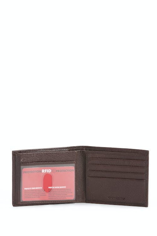 SWISSGEAR Raised Detail Bifold Wallet w/ RFID Blocking RFID-lined compartments to protect ID