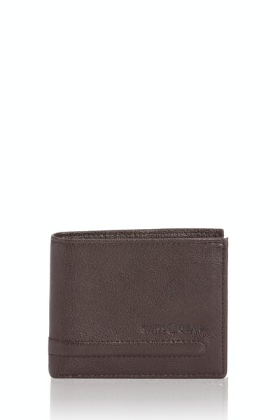 SWISSGEAR Raised Detail Bifold Wallet w/ RFID Blocking - Brown
