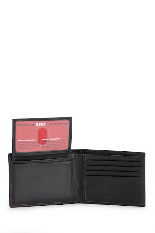 SWISSGEAR Saffiano Bifold Wallet w/ RFID Blocking RFID-lined compartments