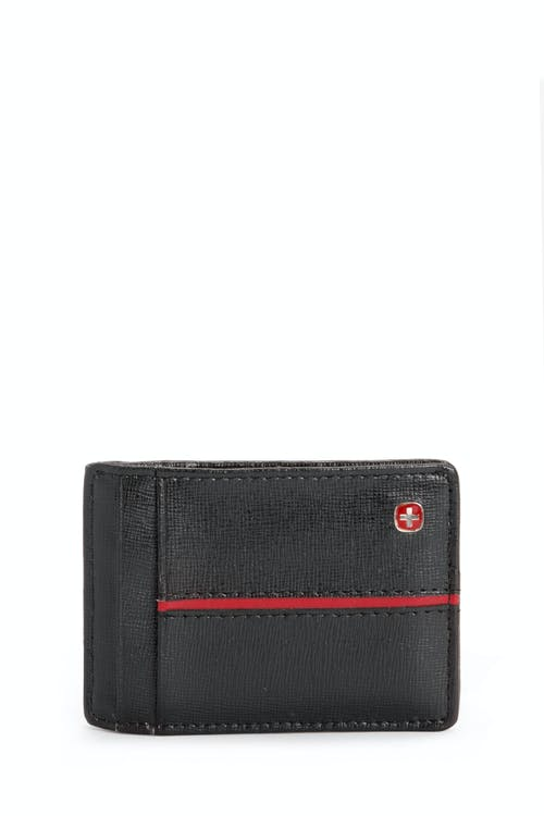 SWISSGEAR Saffiano/Red Stripe Magnetic Front Pocket Wallet w/ RFID Blocking - Black