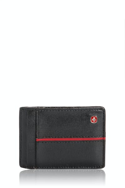 SWISSGEAR Saffiano/Red Stripe Magnetic Front Pocket Wallet w/ RFID Blocking - Black
