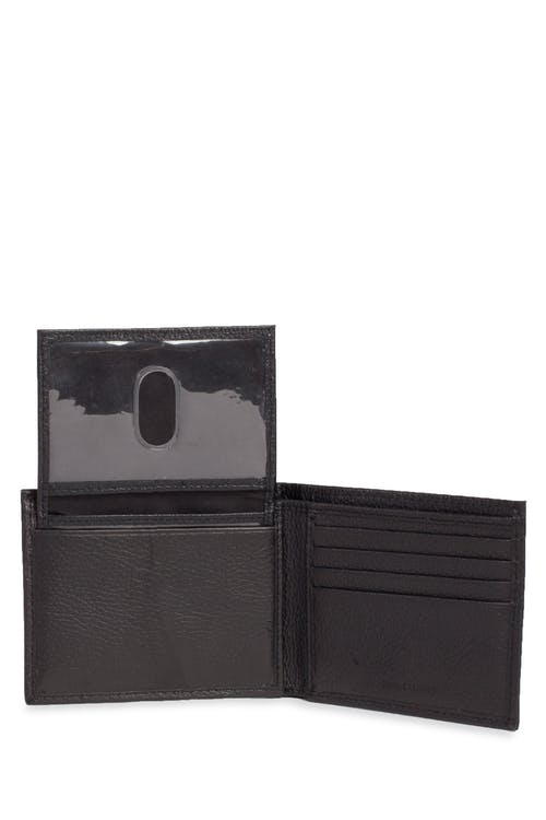 Swissgear Men's Slim Bifold Pebbled Leather Wallet ID Insert