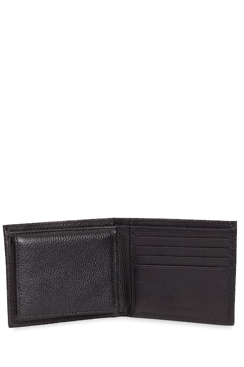 Swissgear Men's Slim Bifold Pebbled Leather Wallet Convenient slim body with multiple card slots