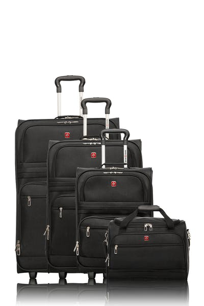 Swissgear Baffin II Collection 4 Piece Softside Luggage Set - Black