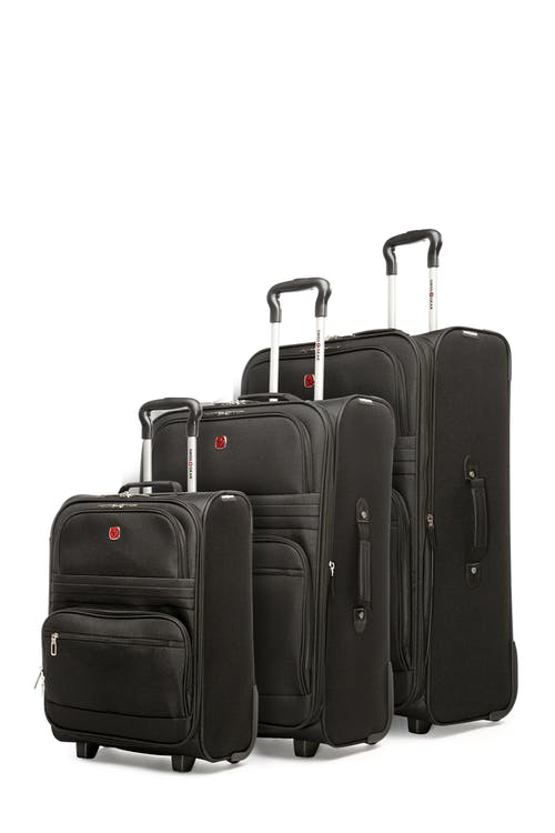 Swissgear Baffin II Collection 3 Piece Softside Luggage Set - Black