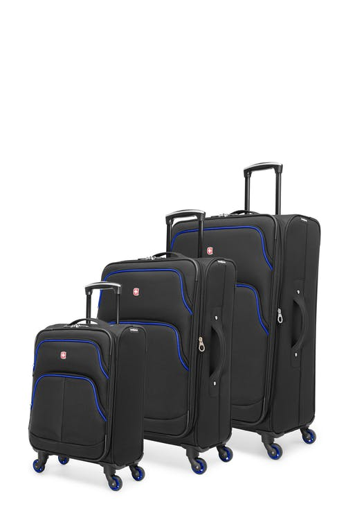Swissgear Empire Collection Upright Luggage 3 Piece Set - Black / Blue
