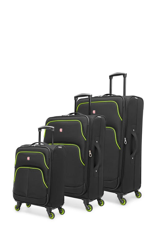 Swissgear Empire Collection Upright Luggage 3 Piece Set - Black / Lime
