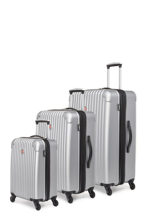 Swissgear Linigno Collection Hardside Luggage 3 Piece Set - Silver