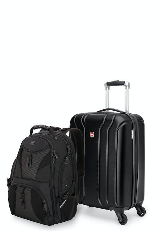 Swissgear 27282 - Ensemble de voyage - Valise de cabine rigide avec porte-gobelet intégré de la collection Upload + Sac à dos ScanSmart pour portable - Noir