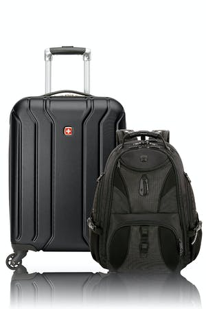 Swissgear 27282 Upload Carry-On Hardside Luggage with Cup Holder and ScanSmart TSA Laptop Backpack Combo - Black