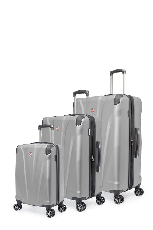 Swissgear Global Traveller Collection Expandable Hardside Luggage 3 Piece Set - Silver